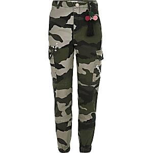 Pantalon cargo camouflage kaki orné pour fille