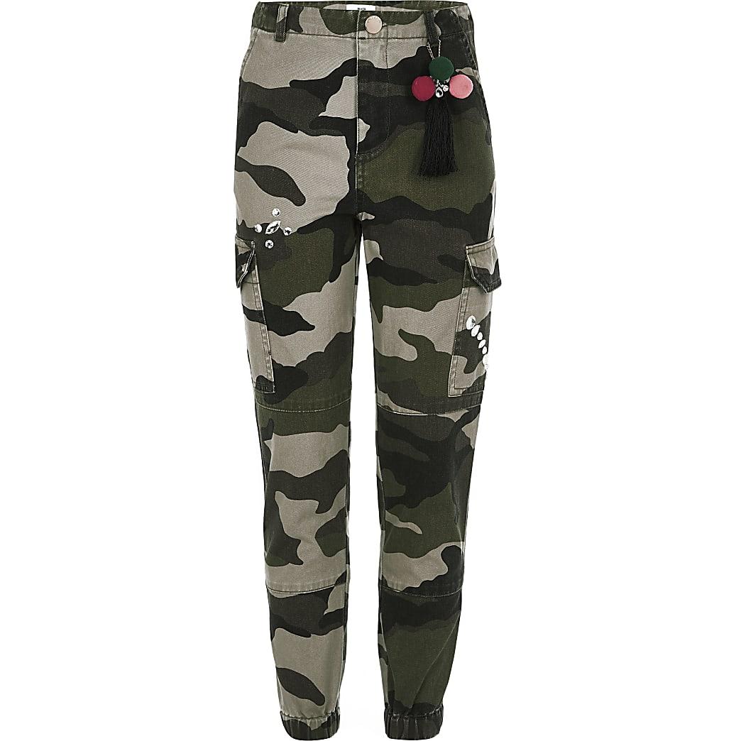 Girls khaki camo embellished cargo trousers