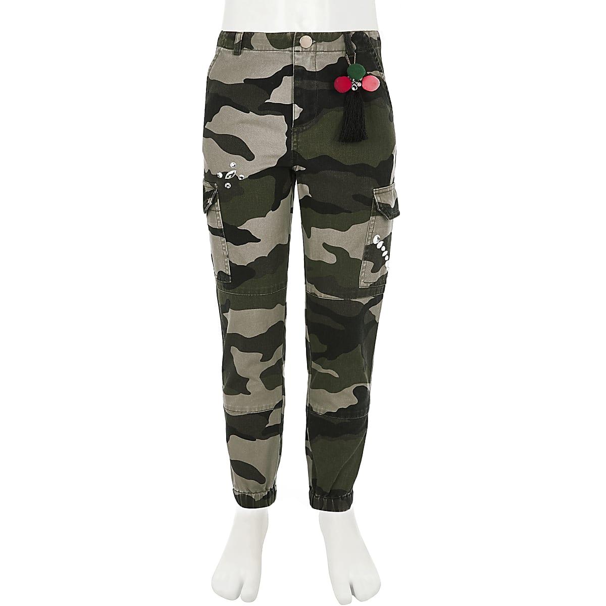 2cdefc0971 Girls khaki camo embellished cargo trousers - Casual Trousers - Trousers -  girls