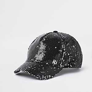 Girls black RI sequin baseball cap