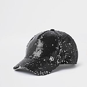 Zwarte baseballpet met RI-print en pailletten voor meisjes