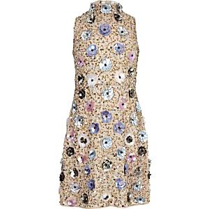 Beiges, verziertes Kleid mit 3D-Blume