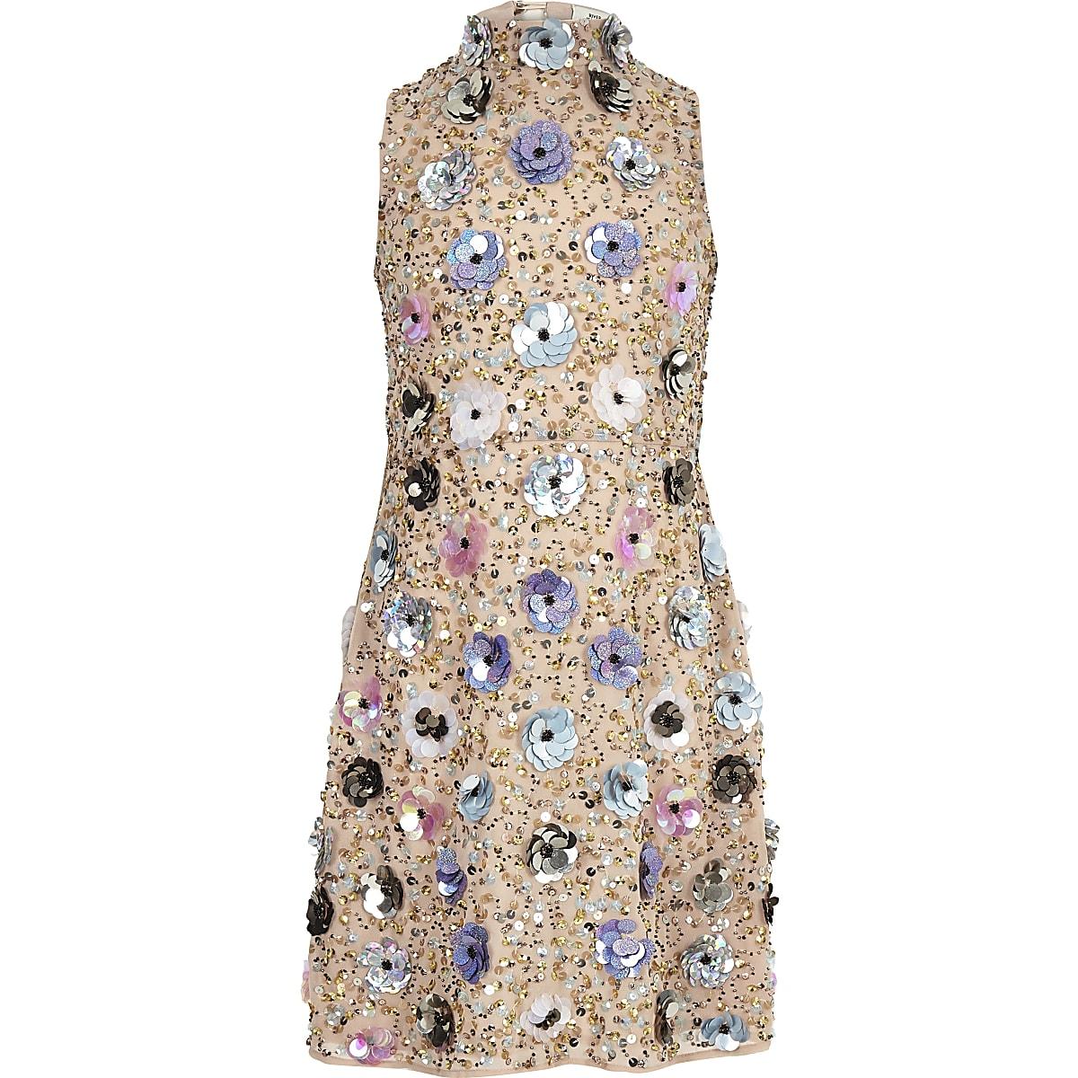 Beige jurk met 3D-bloemversiering voor meisjes