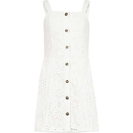 Girls white broiderie cami dress