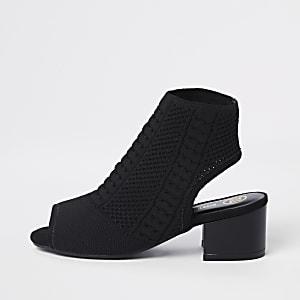 Black peep toe sock shoe boots