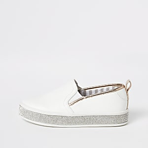 Girls white rhinestone trim slip on plimsolls