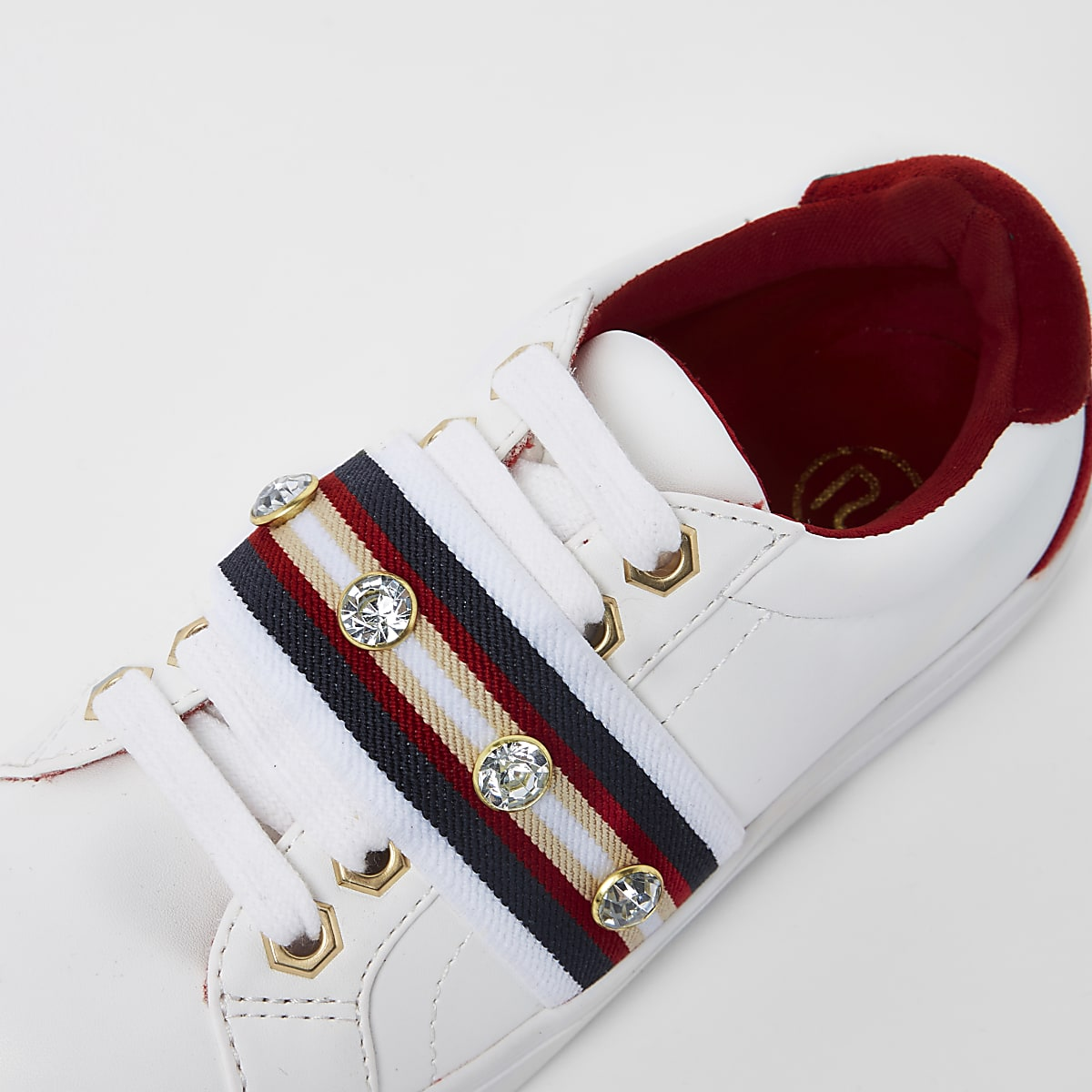 a078835833a Girls white gem tape plimsolls - Trainers - Footwear - girls