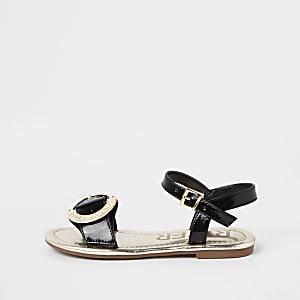 Sandales RI noires à boucle pour fille