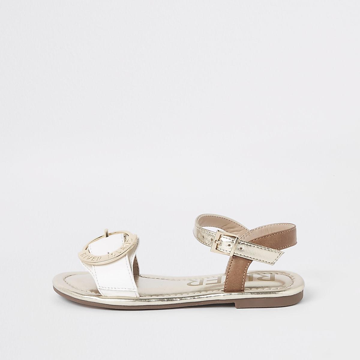 Girls white RI buckle sandals