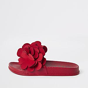 Girls red flower embellished sliders