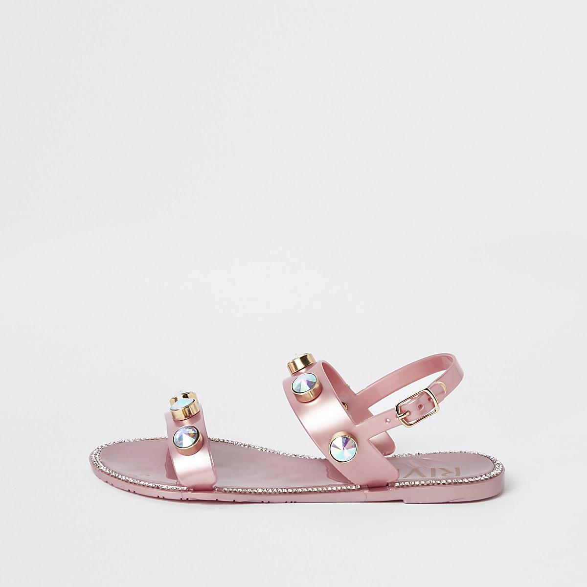 Roze jelly sandalen met siersteentjes voor meisjes
