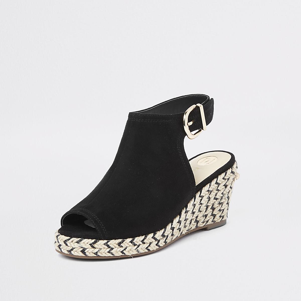 773c27733468 Girls black espadrille peep toe wedges - Sandals - Footwear - girls