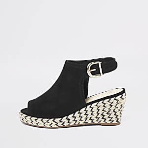 Girls black espadrille peep toe wedges