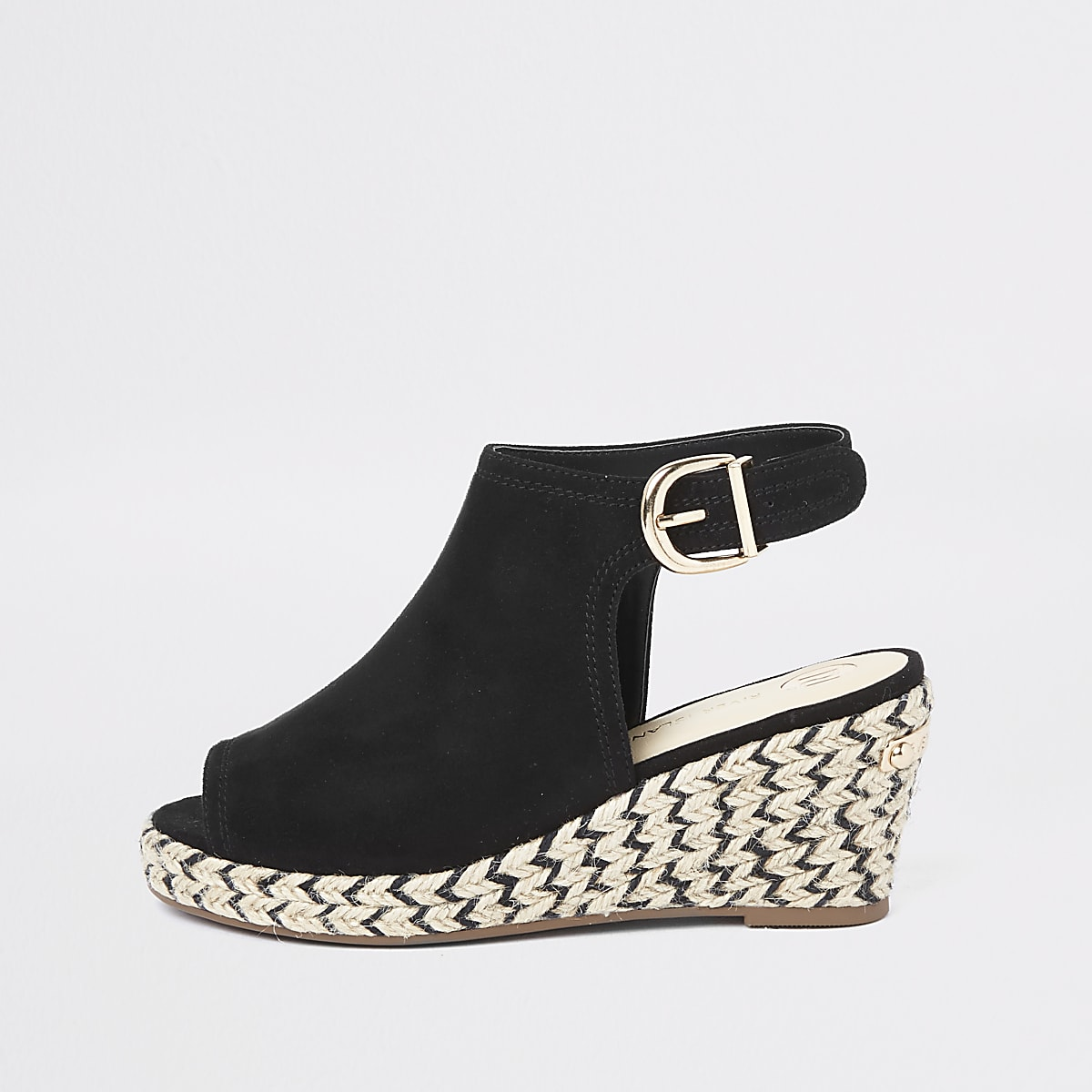 Girls black espadrille peep toe wedges