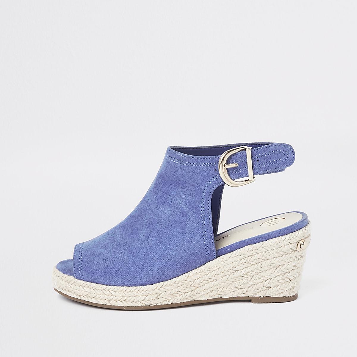 Girls blue espadrille peep toe wedges