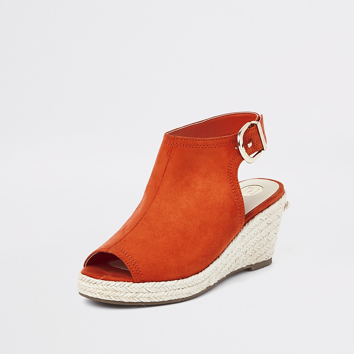 64ba643232c Girls orange espadrille peep toe wedges