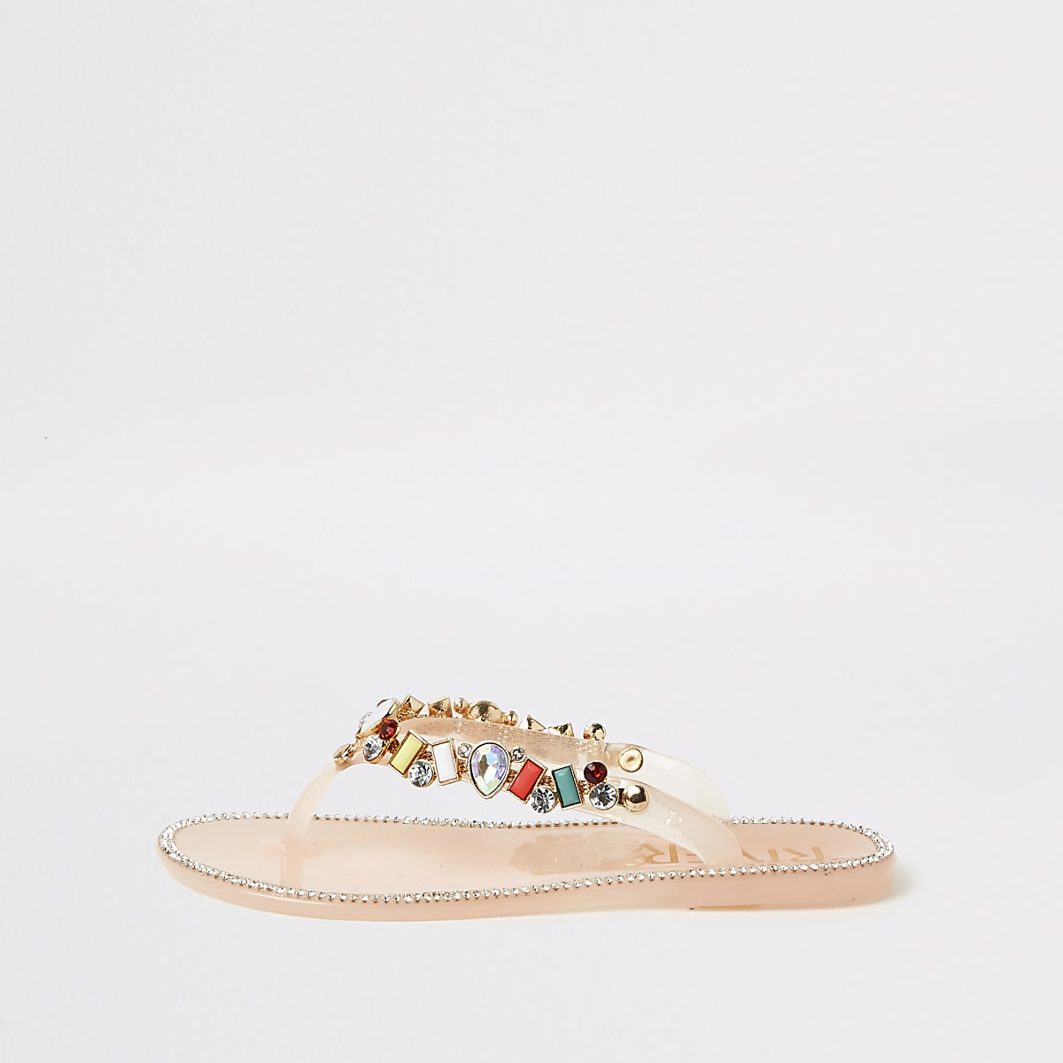 Girls gem embellished jelly flip flops