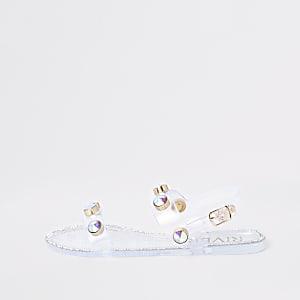 Sandales en plastique blanches avec pierres fantaisie fille