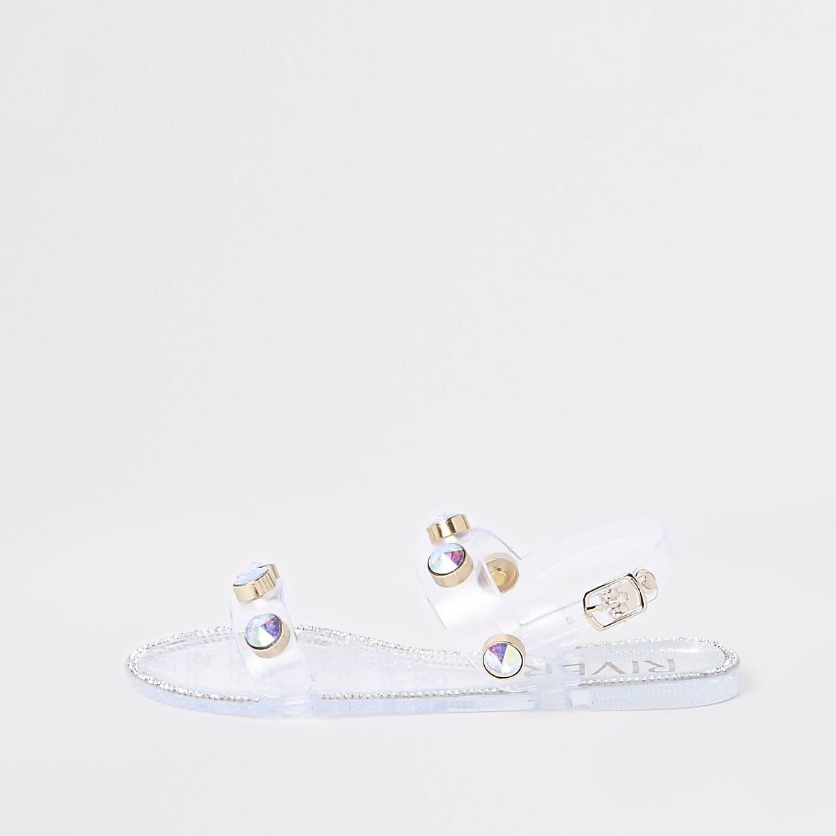 Witte jellly sandalen met siersteen voor meisjes