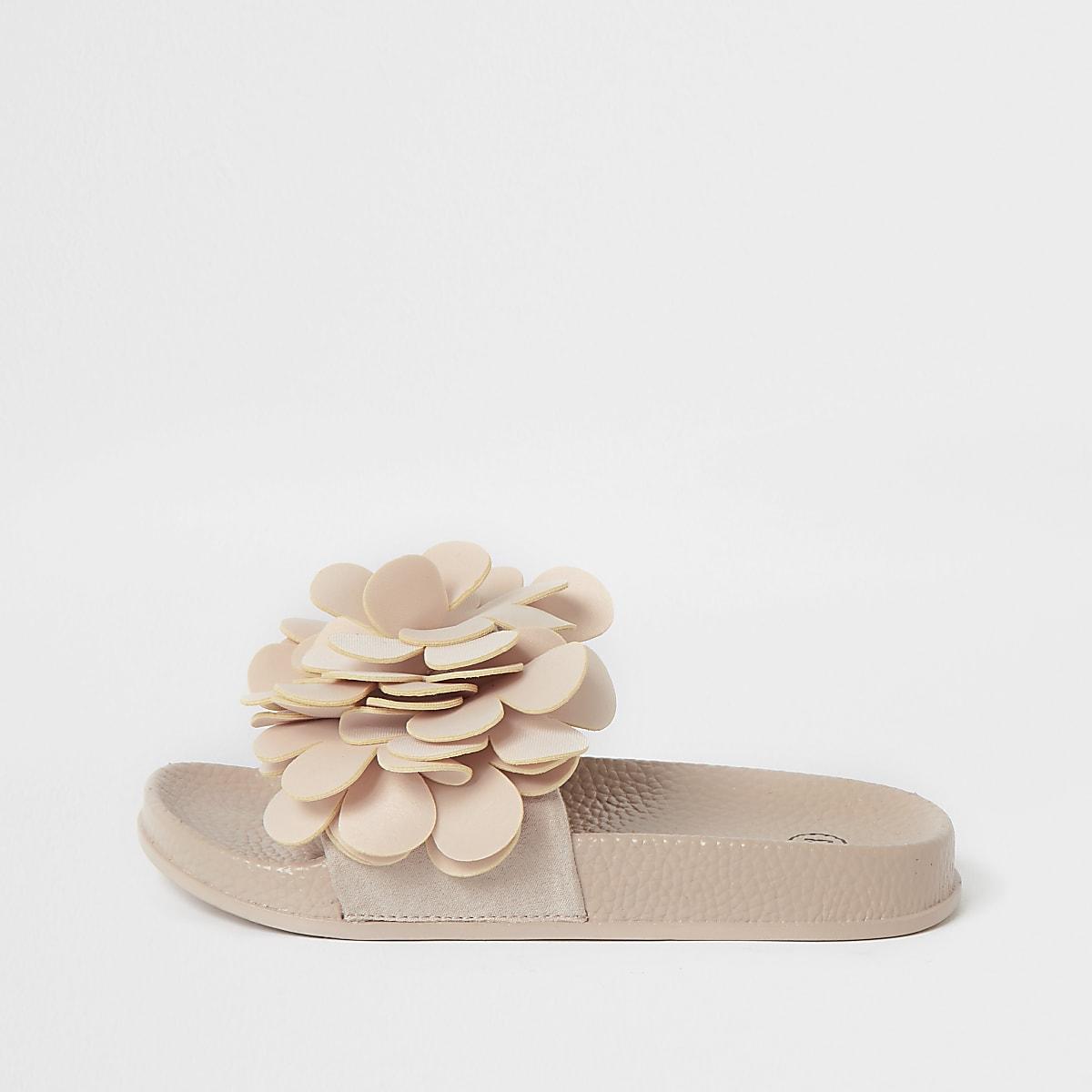 Girls pink flower embellished sliders