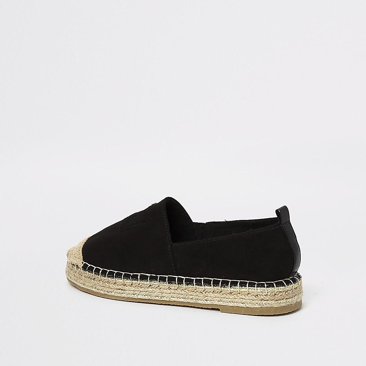 fc3a22cb02bf Girls black glitter espadrille plimsolls - Shoes - Footwear - girls