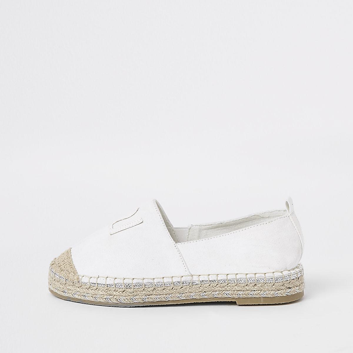 Girls white glitter espadrille trim plimsolls