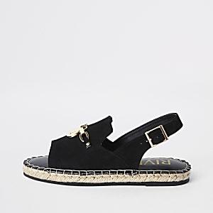 Sandales noires à bride arrière et semelle espadrille pour fille