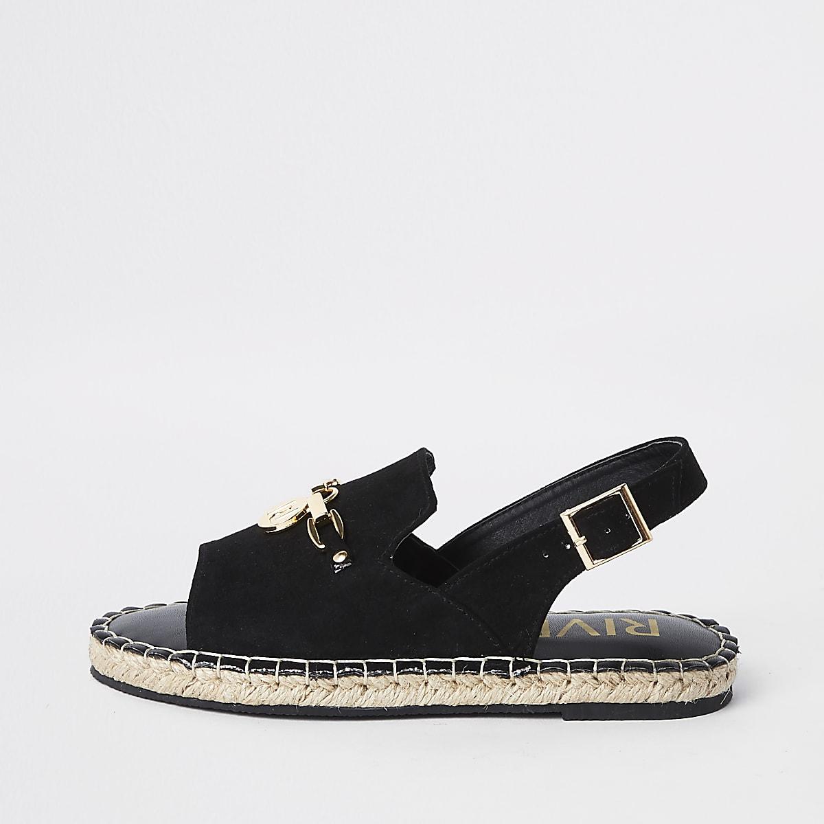 Girls black sling back espadrille sandals