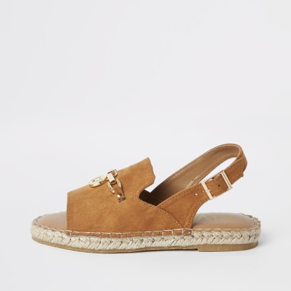 Girls brown sling back espadrille sandals