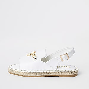 Girls white sling back espadrille sandals