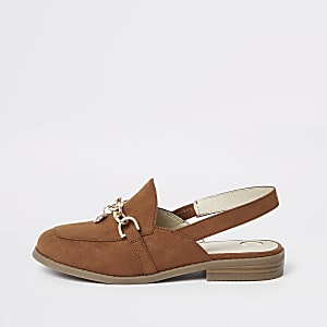 Bruine loafers zonder achterkant met kettinkje voor meisjes