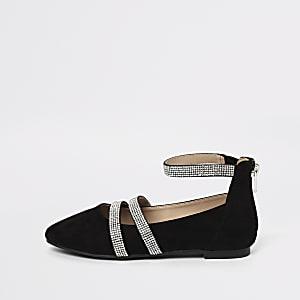 Zwarte ballerinapumps met bandjes en diamantjes voor meisjes