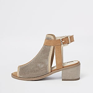 Girls beige cutout panel shoe boots