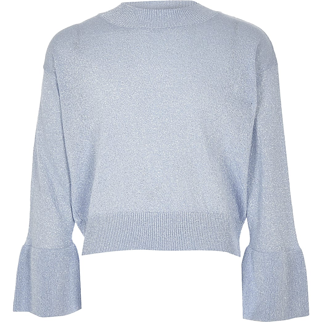 Girls blue knit metallic bell sleeve jumper