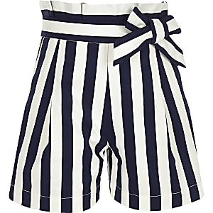 Girls navy stripe poplin paperbag shorts
