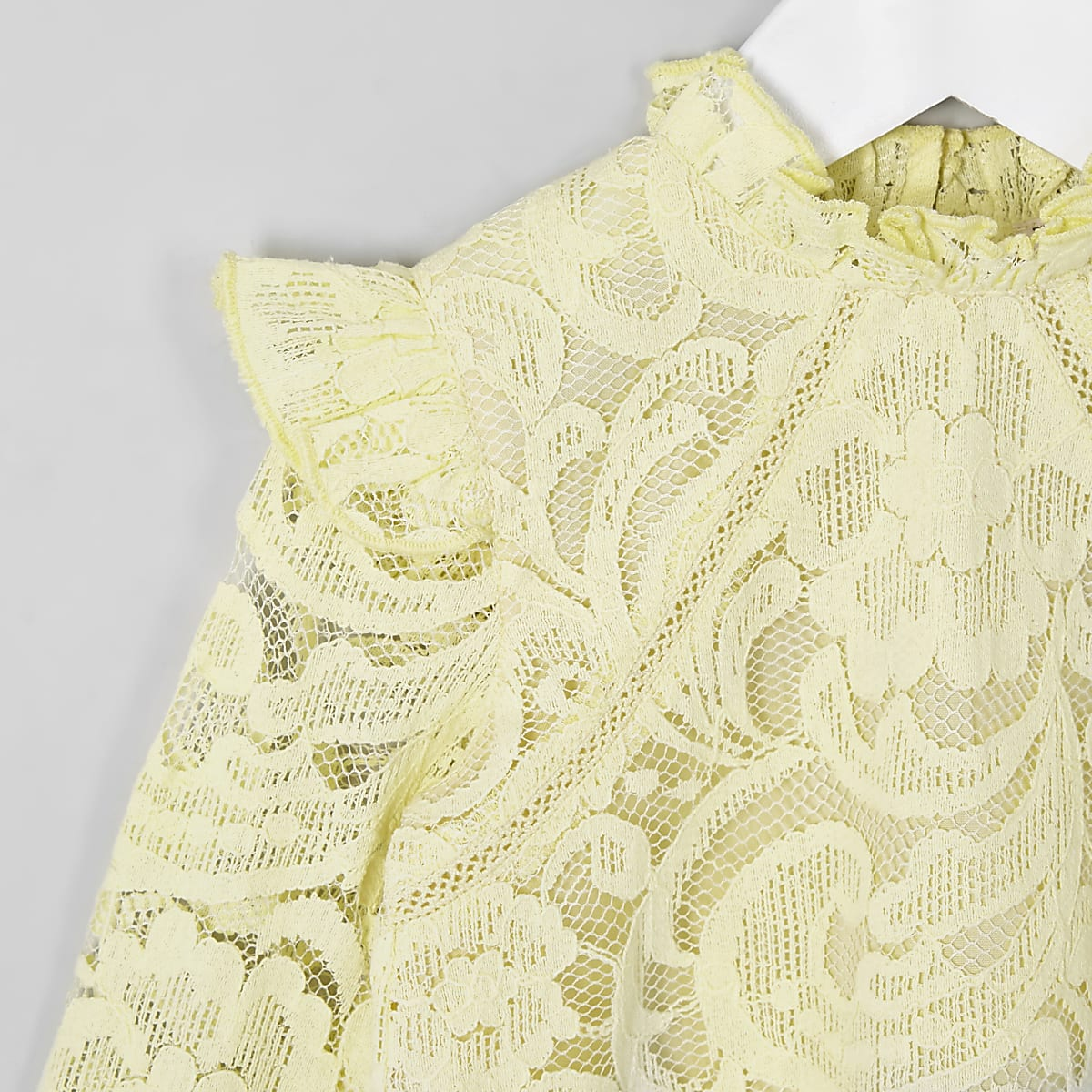 2846777099b Mini girls yellow lace frill neck top