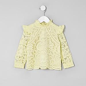 Mini girls yellow lace frill neck top