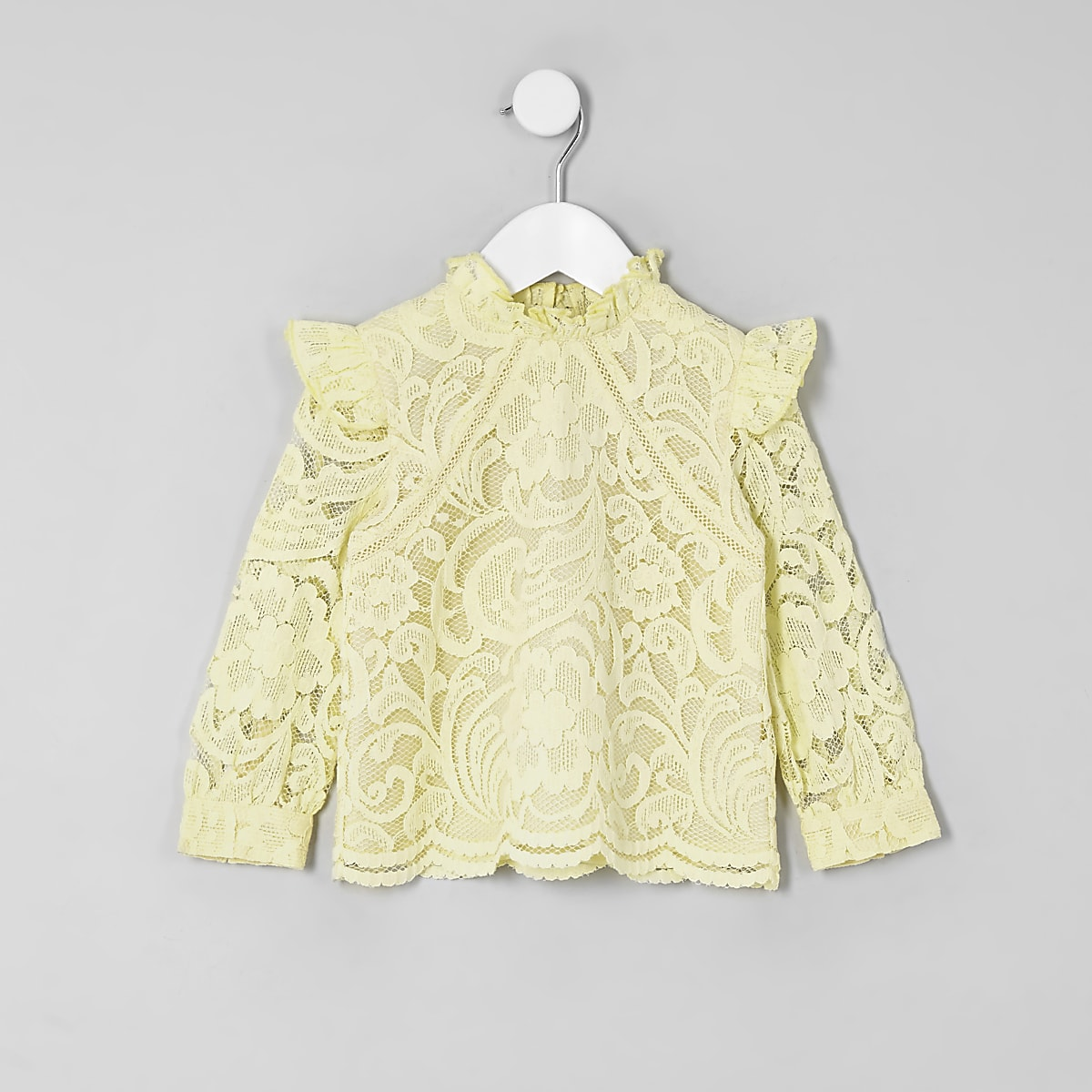 Mini Girls Yellow Lace Frill Neck Top