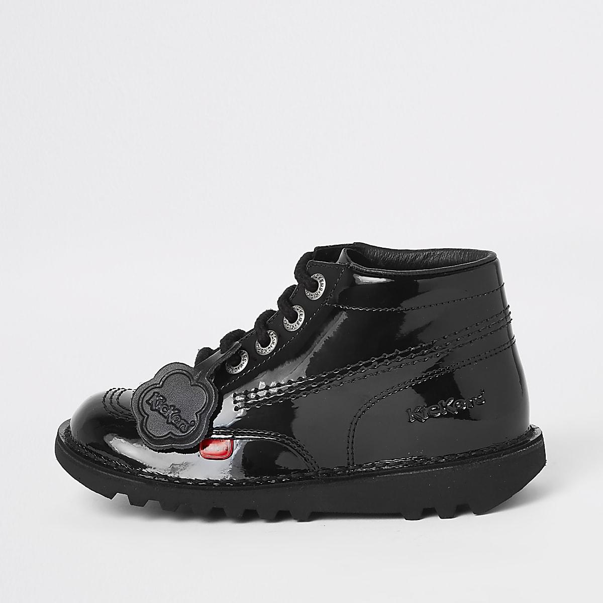 Kids black Kickers patent lace-up boots