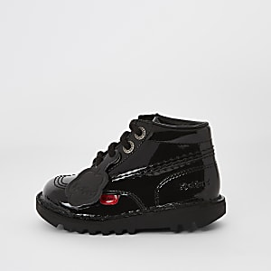 Mini kids black Kickers patent lace-up boots