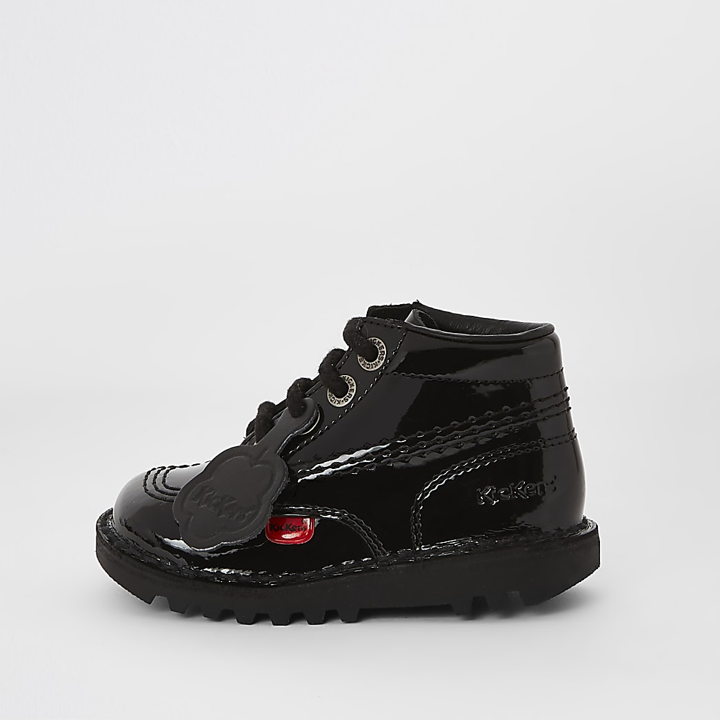 Mini kids black Kickers patent lace-up boots