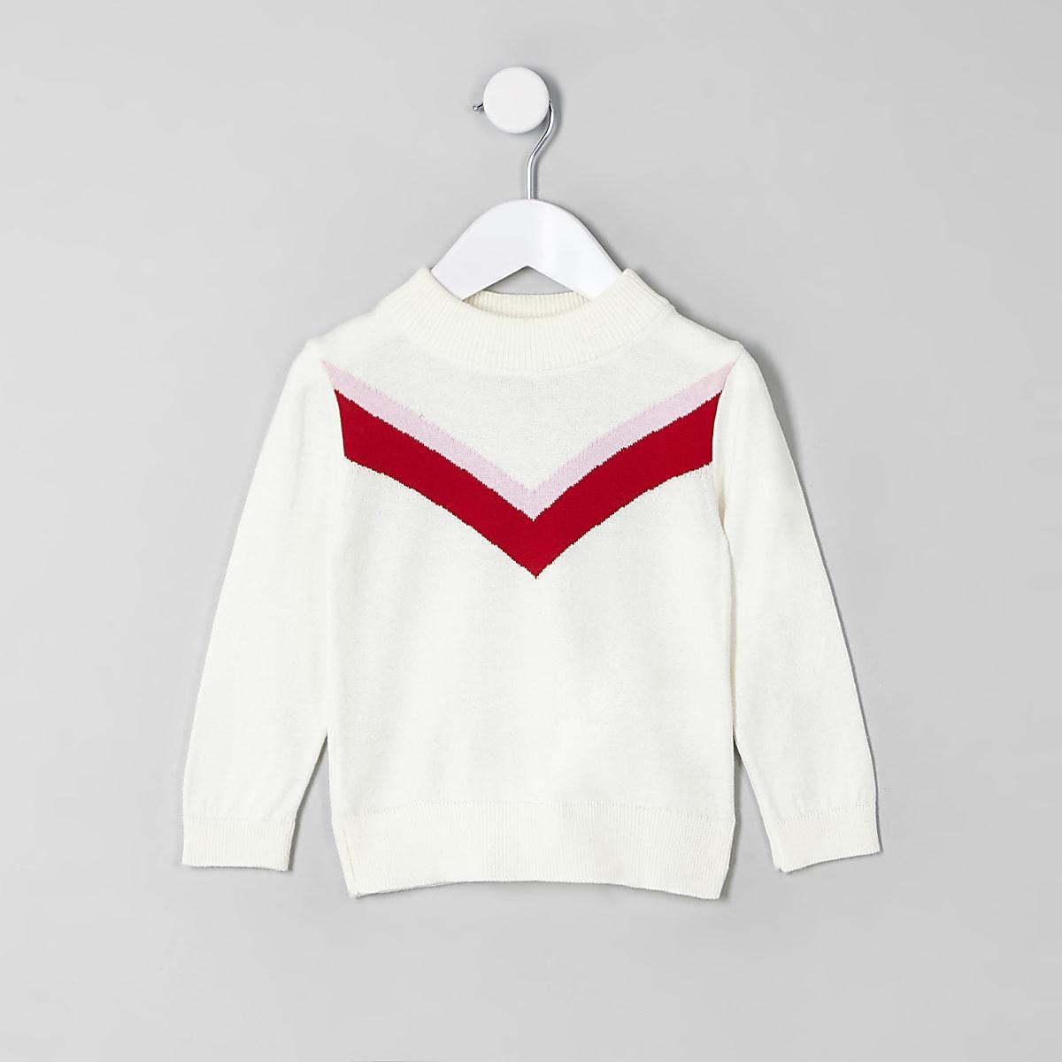Mini girls cream chevron jumper