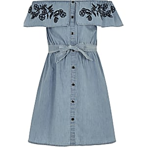 Girls blue bardot tie waist denim dress