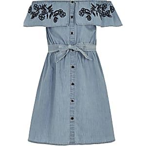 Girls blue bardot tie waist denim dress