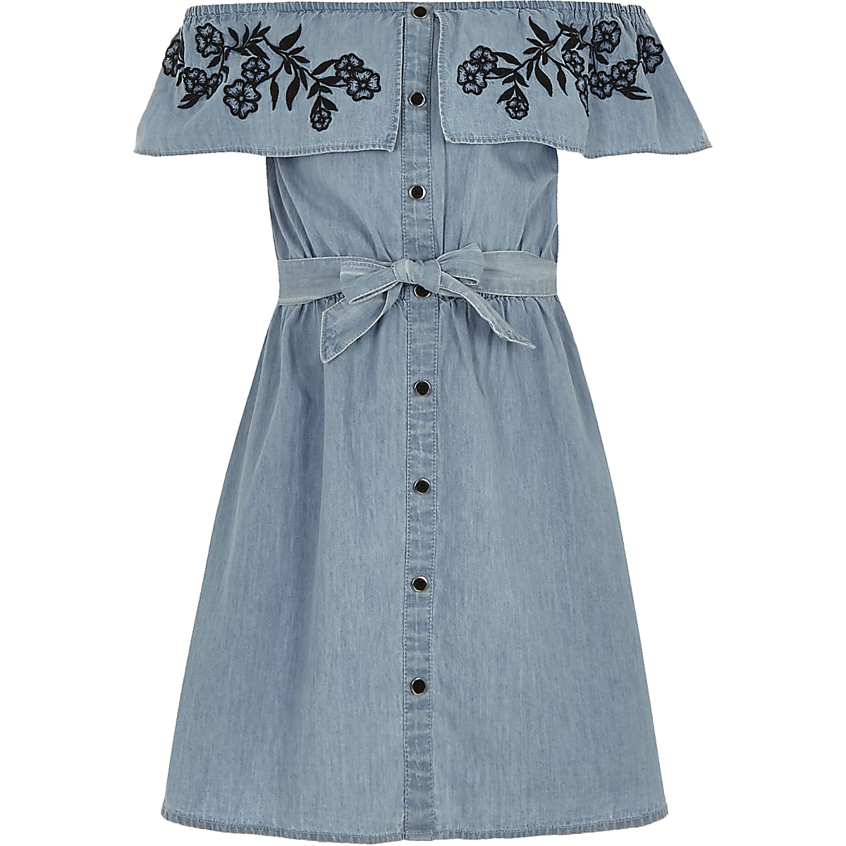 897d8a1d7e2 Girls blue bardot tie waist denim dress - Day Dresses - Dresses - girls