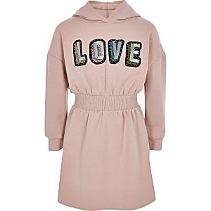 Roze trui-jurk met 'Love'-print voor meisjes
