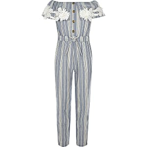 Girls blue stripe bardot jumpsuit