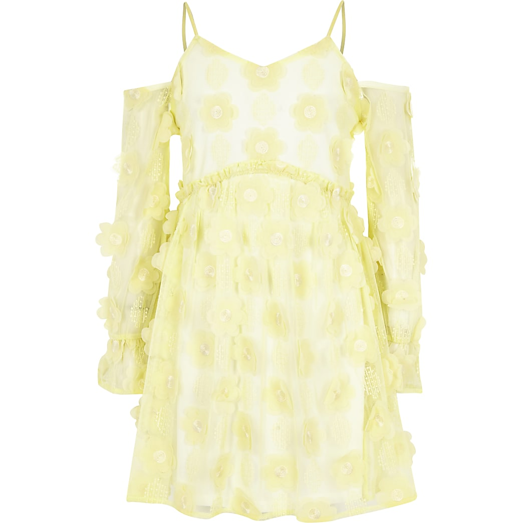 Girls yellow flower cold shoulder dress