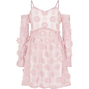 Girls pink flower cold shoulder dress