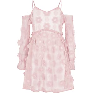 Robe à fleurs rose à épaules dénudées pour fille